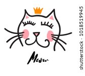 cat in the crown illustration | Shutterstock .eps vector #1018519945