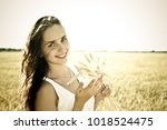 young smiling beautiful girl... | Shutterstock . vector #1018524475