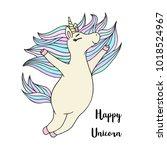 cute little unicorn magic horse ... | Shutterstock .eps vector #1018524967