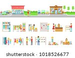 clothing store exterior and... | Shutterstock .eps vector #1018526677