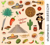 mexico symbols. set of icons... | Shutterstock .eps vector #1018531249