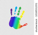 rainbow multicolored silhouette ... | Shutterstock .eps vector #1018531351