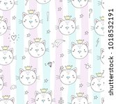 seamless pattern with cute...   Shutterstock .eps vector #1018532191