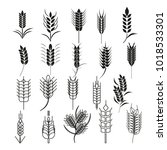 wheat ear icon set. cereals... | Shutterstock .eps vector #1018533301