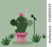 cactus cartoon adorable... | Shutterstock .eps vector #1018534219
