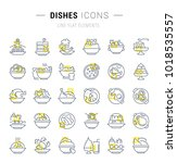 set of vector line icons and... | Shutterstock .eps vector #1018535557