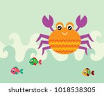 cute crab and fish greeting... | Shutterstock .eps vector #1018538305