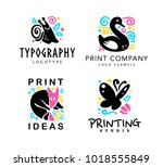 vector set of typography and... | Shutterstock .eps vector #1018555849