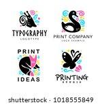 vector set of typography and...   Shutterstock .eps vector #1018555849