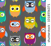 Stock vector colorful owls pattern vector pattern seamless background ready for printing on textile and other 1018556371