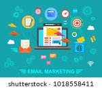 e mail marketing. email.... | Shutterstock .eps vector #1018558411