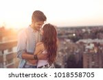 couple in love standing and... | Shutterstock . vector #1018558705