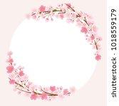 cherry blossom vector frame. | Shutterstock .eps vector #1018559179