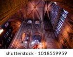 paris   october 1  notre dame... | Shutterstock . vector #1018559959