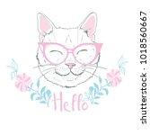 cute cat sketch vector... | Shutterstock .eps vector #1018560667