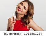 portrait of charming brunette... | Shutterstock . vector #1018561294
