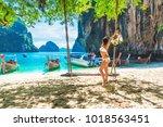 summer lifestyle traveler asian ... | Shutterstock . vector #1018563451