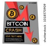 bitcoin crash down arrow poster ... | Shutterstock .eps vector #1018570909