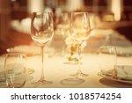 empty glasses wine in... | Shutterstock . vector #1018574254