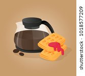 coffee pot and wafers with jam. ... | Shutterstock .eps vector #1018577209