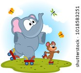 elephant and mouse roller... | Shutterstock .eps vector #1018583251