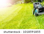 mowing lawns  lawn mower on... | Shutterstock . vector #1018591855