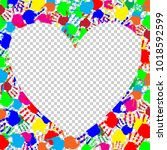 bright rainbow heart frame with ... | Shutterstock .eps vector #1018592599