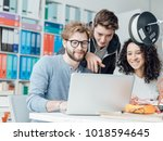 group of engineering students... | Shutterstock . vector #1018594645