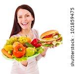woman choosing between fruit... | Shutterstock . vector #101859475