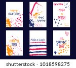 happy birthday card set with...   Shutterstock .eps vector #1018598275