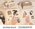 woman's hands holding old... | Shutterstock .eps vector #1018600435