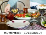 delicious turkish  greek and... | Shutterstock . vector #1018600804