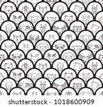 cute animal face heads round... | Shutterstock .eps vector #1018600909