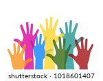 colorful hands raised. free... | Shutterstock .eps vector #1018601407
