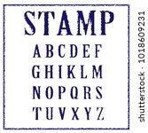 vector latin stamp font. vector ... | Shutterstock .eps vector #1018609231