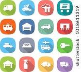 flat vector icon set   truck... | Shutterstock .eps vector #1018611319
