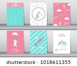 set of cute fantasy poster... | Shutterstock .eps vector #1018611355