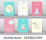 set of cute fantasy poster... | Shutterstock .eps vector #1018611454