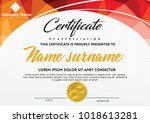certificate template with... | Shutterstock .eps vector #1018613281