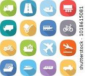 flat vector icon set   truck... | Shutterstock .eps vector #1018615081
