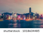 scenic skyline of hong kong... | Shutterstock . vector #1018634485