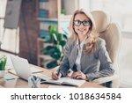 portrait of happy smiling... | Shutterstock . vector #1018634584