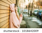 cool hipster young girl in pink ... | Shutterstock . vector #1018642009