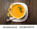 cream soup in a white dishes | Shutterstock . vector #1018643074