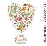 cute easter festive banner for... | Shutterstock .eps vector #1018644421