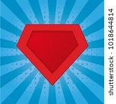 superhero logo template. red ... | Shutterstock .eps vector #1018644814