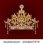 diamonds tierra with golden... | Shutterstock .eps vector #1018647574
