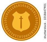 guard shield golden digital...   Shutterstock .eps vector #1018647901