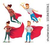 super business woman character... | Shutterstock .eps vector #1018650361