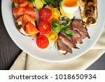 bruschetta  assorted  different ... | Shutterstock . vector #1018650934